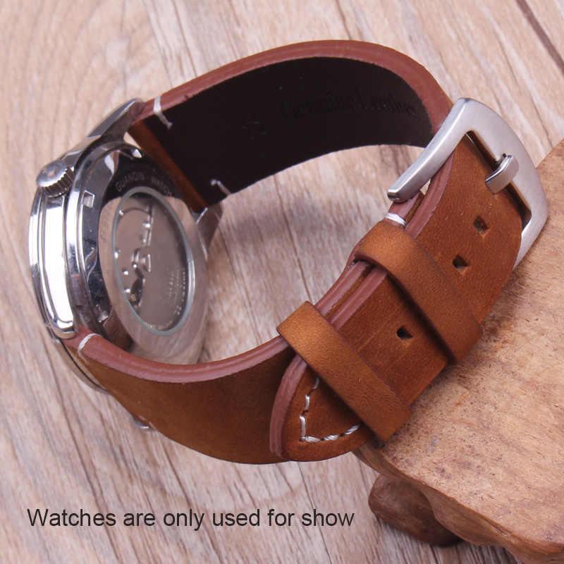 ของแท้หนังนาฬิกาสีดำสีน้ำตาลเข้มผู้ชาย 18 20 22 มม.Vintage นาฬิกาสายคล้องคอหัวเข็มขัดอุปกรณ์เสริม
