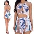Venda quente 2017 Novas Mulheres Dois Outfits Peça Sexy Colheita Topo e Shorts Conjunto de Impressão Roupas Da Moda Verão Oco Out Casual Beachwear