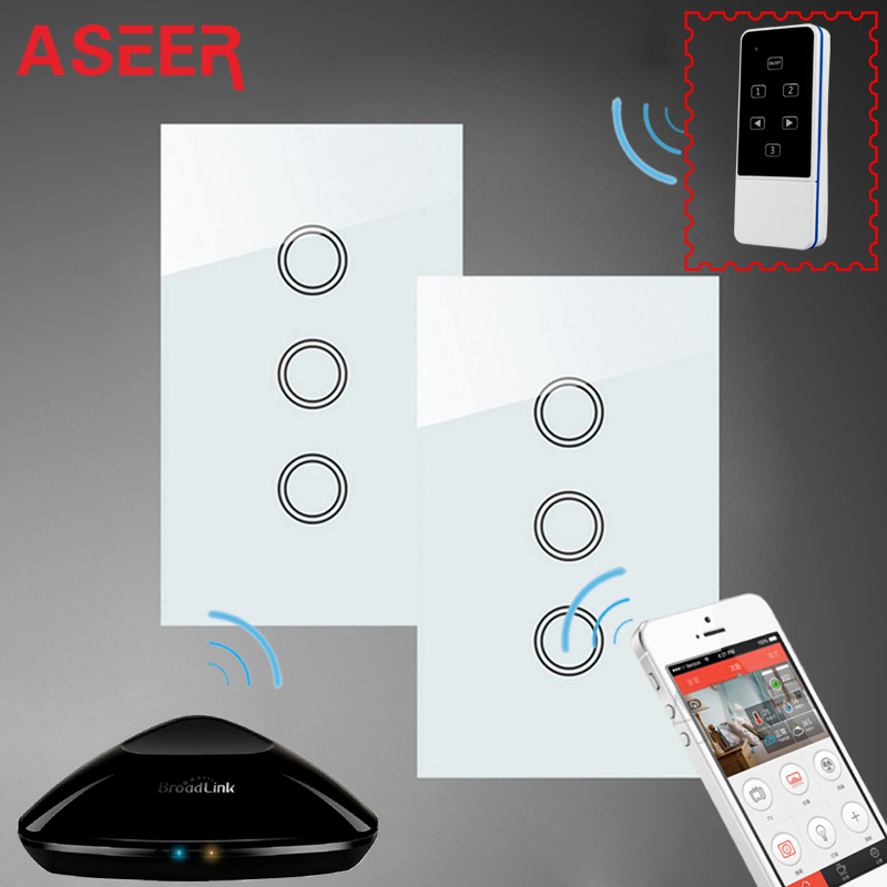 ASEER,US/AU Standard 3 Gang 2Way Wall Touch Light Switches White ...