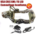 AloneFire HP07 Camouflage Cree XM-L T6 LED 2000LM led Headlamp with AC charger/car charger for 1/2x18650 rechargeable battery
