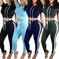 Dasbayla 2016 Autumn 2 Pieces Sets Casual Women Jumpsuits Rompers Ladies Solid Playsuits Stripe Side Bodysuit Outfits