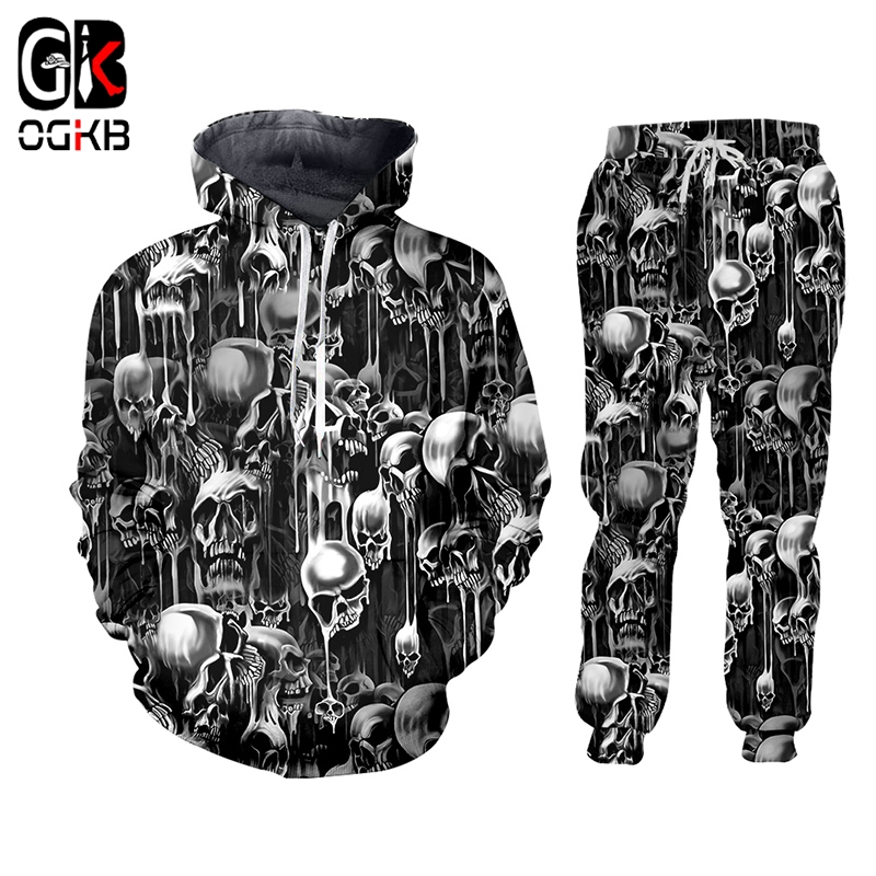 OGKB 3D Full Printed Skull Horror Hooded Jacket Pants Men's Custom Street Winter Suit Big Size Fashion Clothing Drop Shipping