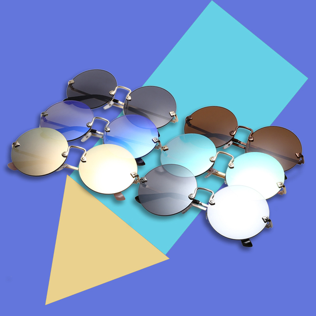 Round Rimless Mirrored Lens Sunglasses for Women UV400