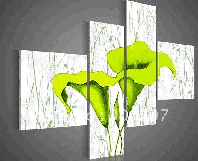 hand painted oil wall art Pale green beautiful flowers decoration abstract Landscape oil painting on canvas 4pcs-in Painting u0026 Calligraphy from Home ... & hand painted oil wall art Pale green beautiful flowers decoration ...