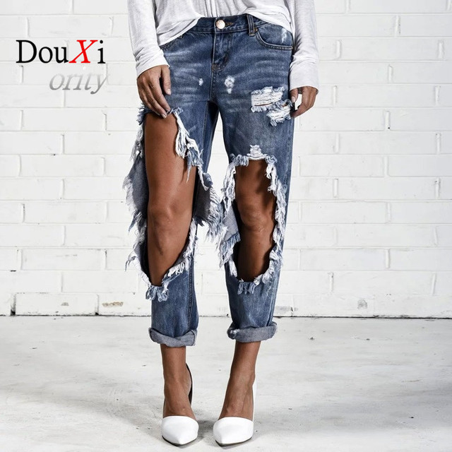 Douxiority Femme Vintage Holes Ripped Jeans Women Scratched Beggars Loose Denim Trousers Boyfriend Mujer