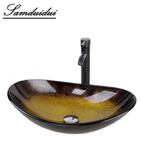 Bathroom Washbasin Countertop Tempered Glass Basin Sink Faucet Set Brass Waterfall Faucet Washroom Vessel Vanity Bar