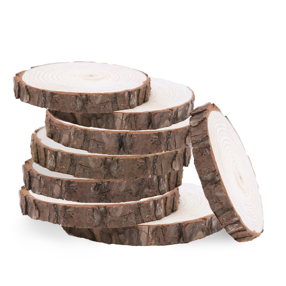 10pcs Unfinished Natural Round Wood Slices Circles With Tree Bark Log Discs For DIY Crafts Wedding Party Decoration