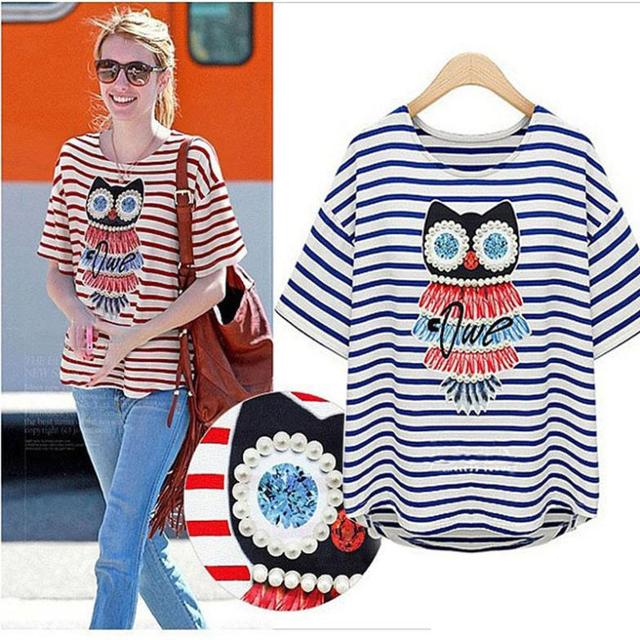 3e6b31dac09 Factory Price 2015 New Fashion Cool Summer Top Striped Owl Beads Perl Woman  Girls T-shirt Tees T XXXL XXXXL Plus Size 2973