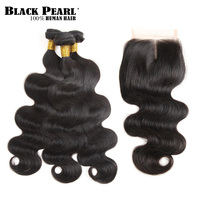 Black Pearl Pre Colored Remy Human Hair Bundles With Closure Body Wave Brazilian Hair Weave 3