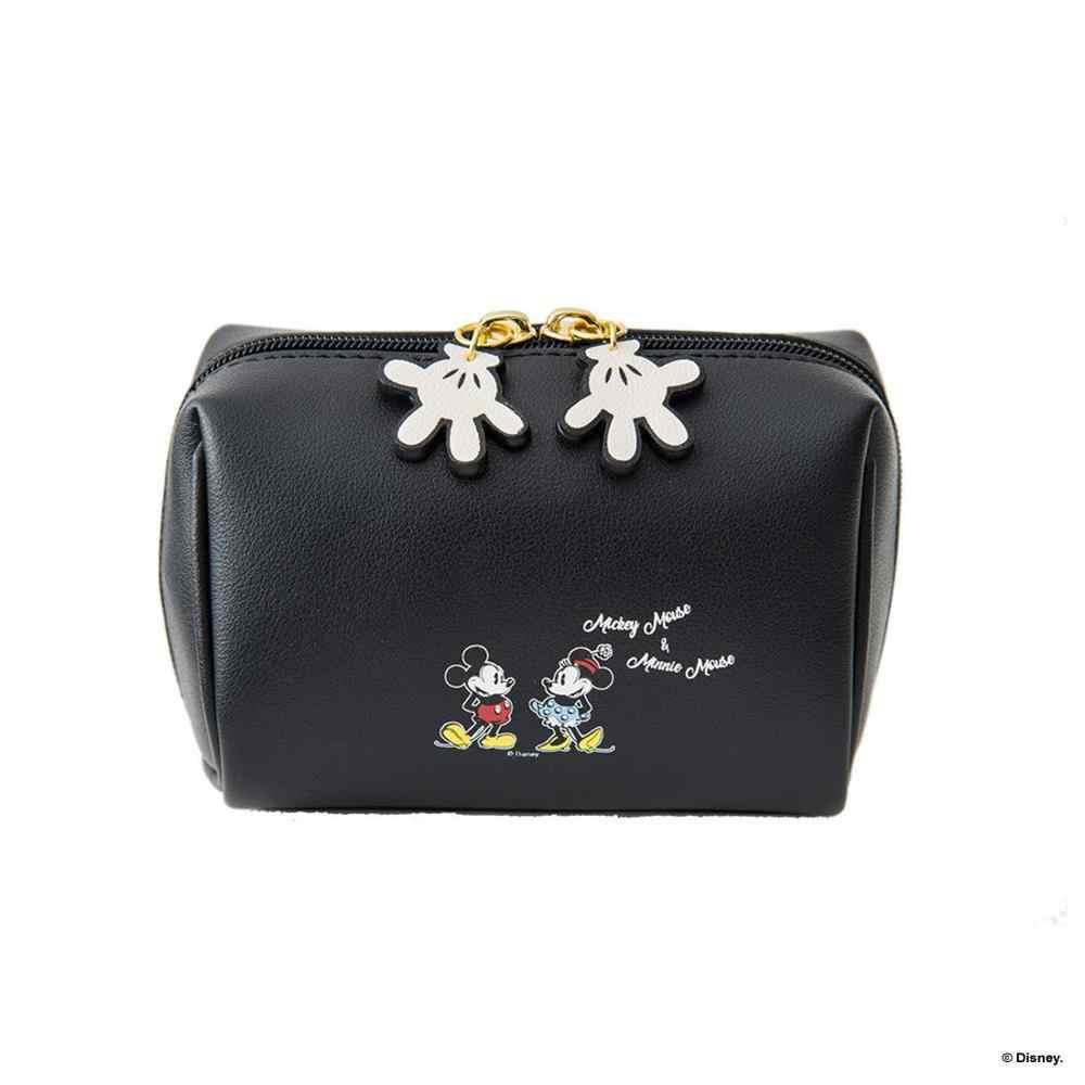Disney Mickey mouse de pelúcia cosméticos saco da bolsa da senhora saco de embreagem pacote de cartões de bolsa da moeda dos desenhos animados pu mini saco de armazenamento bolsa