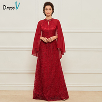 Dressv Red Long Mother Of The Bride Dress Sheath Three Quarter Sleeves Lace Scoop Custom Wedding Party Mother Of The Bride Dress