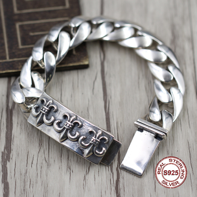 4b03634db367c1 S925 Men's bracelet in Sterling Silver Personality trend domineering anchor  Punk style retro classic Send a gift to love