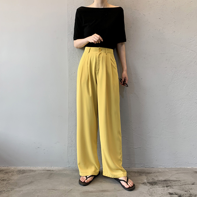 High Waist Loose Bell Bottom Pants Korean Fashion Wide Leg Pants Summer Trousers Solid Color Causal Streetwear