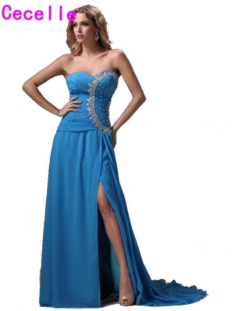 Длинные голубые платья купить