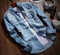 Denim Shirts Men Casual Shirt Long Sleeve Fashion Slim Camisa Jeans Masculina Mens Denim Shirts 3XL US Euopean Style