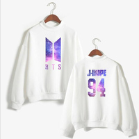 Kpop BTS Love Yourself Women Hoodies Bangtan Boys Member Name Printed Fleece Pink Sweatshirts Turtle Neck