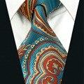 A33 Azul Orangere Abstrato Gravata Dos Homens Gravata para homens Marca de Moda de Nova Novidade tamanho extra longo Lenços De Seda Do Casamento