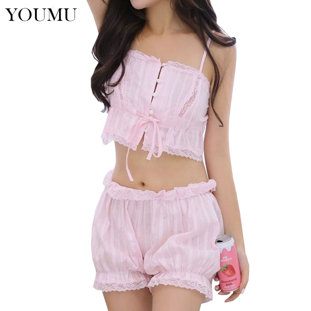 d3e9aa8fcf Lolita Camisole Shorts Set Japanese Cute Pajama Set Cotton Lace Sleepwear  Women Girl Sexy Underwear Nightgowns 200-909
