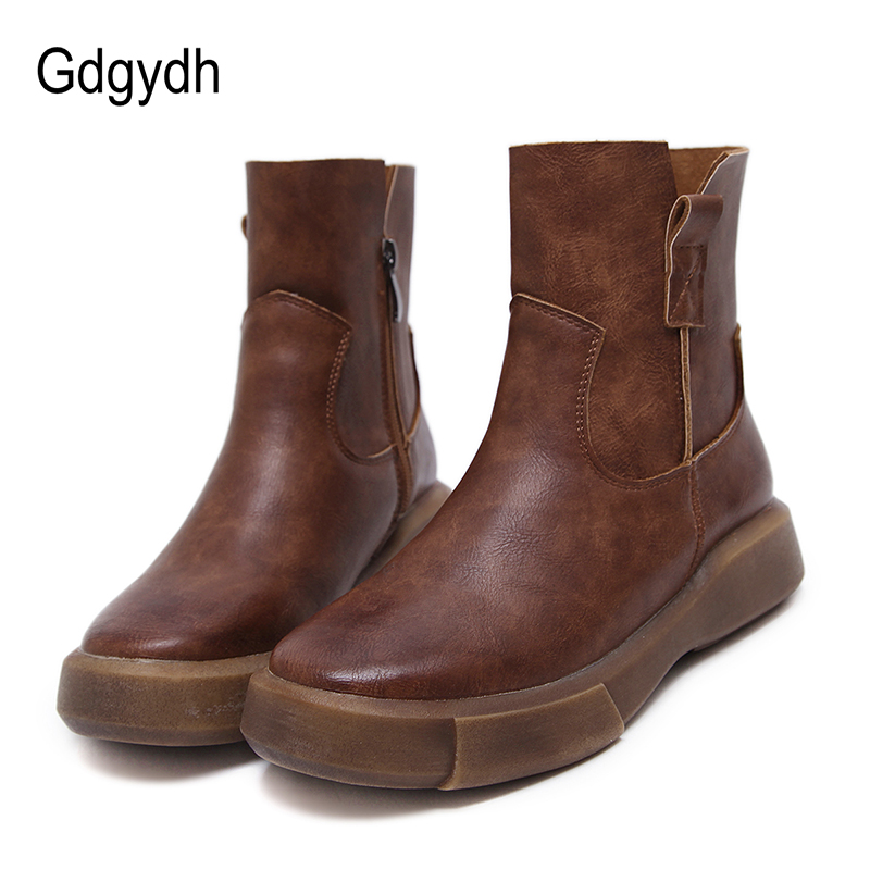 Gdgydh Autumn Fashion Women Boots Flat Heel 2017 New Black Rubber Sole Ankle Boots Side Zipper Casual Autumn Shoes Good Quality women ankle boots 2016 round toe autumn shoes booties lace up black and white ladies short 2017 flat fashion female new chinese