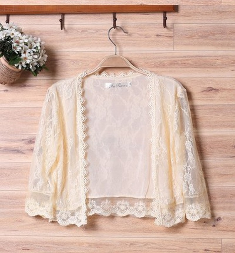 Formal Simple Women'd Half Sleeve Shrug Bolero High Quality Soft Lace Wedding Bridal Cape Jacket