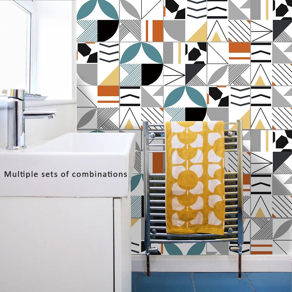 Funlife kendinden yapışkanlı mutfak Backsplash fayans Sticker, yaratıcı geometrik ev banyo DIY dekorasyon su geçirmez duvar çıkartmaları