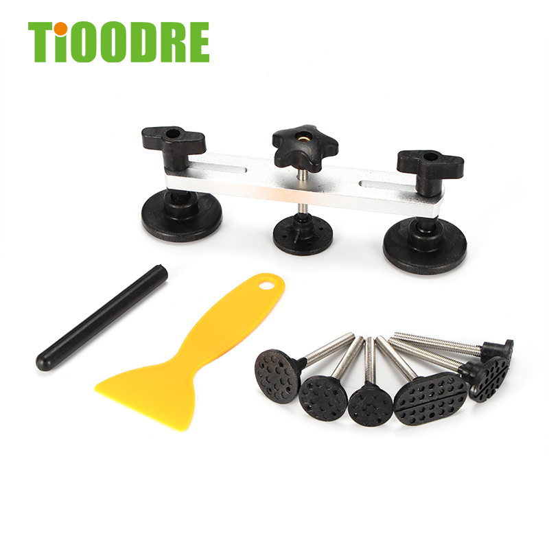 TiOODRE 11-Piece Repair Dent Puller Tool Kit Instrument Paint-Free Car Body Damage Disassembly Adhesive Label Tool Hand Tool Kit
