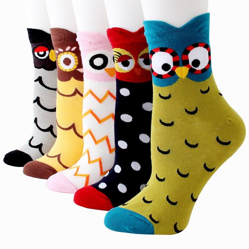 Cartoon Owl Compression Socks For Women Casual Fashion Crew Socks