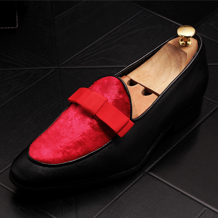 2019 Men Brand Dress Loafers Shoes Bow Tie Slippers Gentlemen Wedding Flats Casual Slip on Black+Red Suede Flats Shoes 9