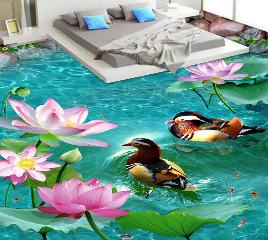 3d floor tiles waterproof wallpaper for bathroom mandarin ducks custom floor wallpaper photo ...