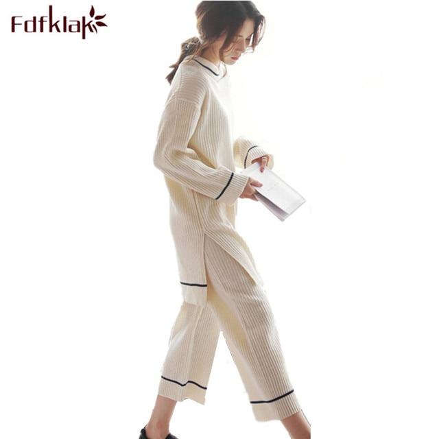 59ddbe32575 Fdfklak Hot Sell Women s Cotton Pyjama White Two Piece Set Autumn Winter  Long Sleeve Pijamas Mujer Homewear Sleepwear Sets Q563