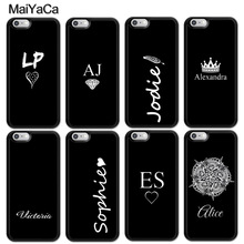 MaiYaCa PERSONALISED INITIALS Name BLACK Cell Phone Case For iphone 11 Pro MAX X