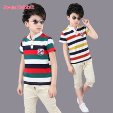 boys clothes clothing fashion T-shirt + pants 2 piece set Fashion striped casual suit kids 5-13 years old popular