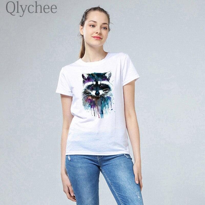 Qlychee Cool Raccoon Cat Heat Transfer Female T Shirts Top Tees Short Sleeve Crew Neck Slim Summer Women T-shirts T Shirt