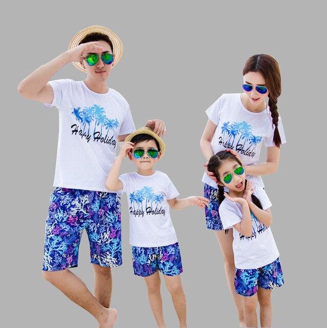 55d67bf6a Toda La Familia Moda Imprimir Familia Juego Trajes de la camiseta + Pantalones  Cortos Que Arropan