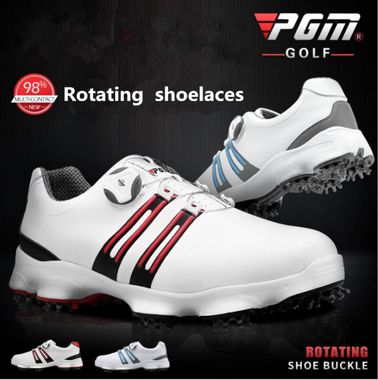pgm-outdoor-sports-men-golf-shoes-rotating-shoelaces-waterproof-breathable-wide-sole-golf-sneakers-anti-slip-shoes-for-male
