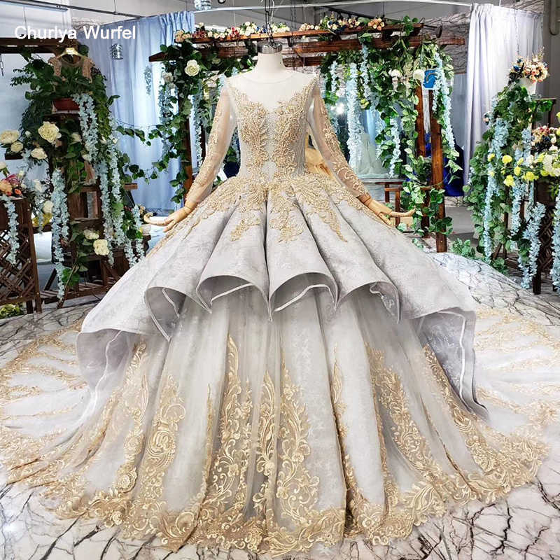HTL508 luxury ball gown ladies evening dresses for special occasions o-neck long sleeve golden lace long evening gown rochii