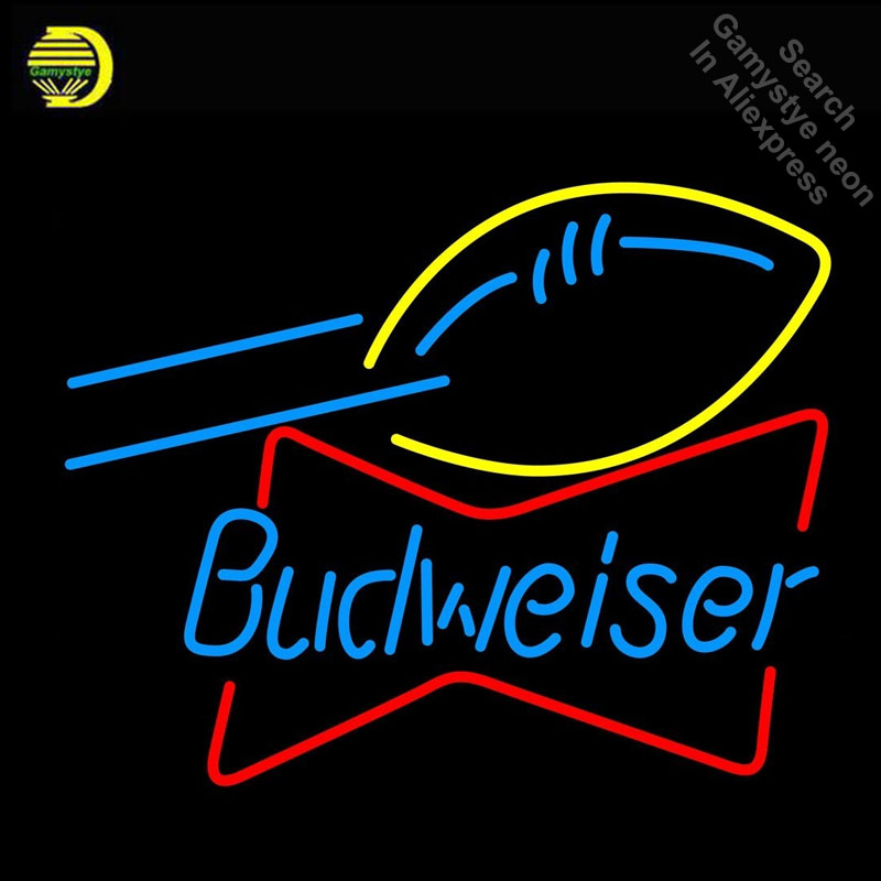 Budweise football bowtie Neon Sign GLASS Tube Handcraft neon Light Signs custom Advertise sports vintage neon lamps wholesale