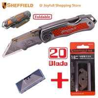Couteau pliant utilitaire Sheffield avec cadeau gratuit lames de couteau à crochet Original couteau à lame lourde en acier outil de coupe-papier