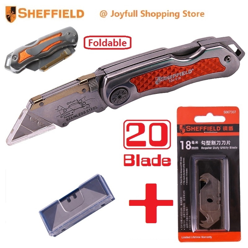 цена на Great Deal Sheffield Utility Folding Knife with Free Gift Original Hook Knife Blades Steel Heavy Blade Knife Paper Cutter Tool