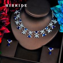 HIBRIDE Luxury Design Blue Cubic Zircon Jewelry Sets For Women Bridal Dress Dinner Fashion Accessories Bijoux Mariage Gift N-519