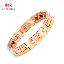 Oktrendy Gold Magnetic Bracelet Men Stainless Steel Energy Germanium Magnet Health Bracelets Men Hand Chain Bracelets for Women stainless steel hologram bracelet germanium balance energy care magnetic power health bracelets bangles