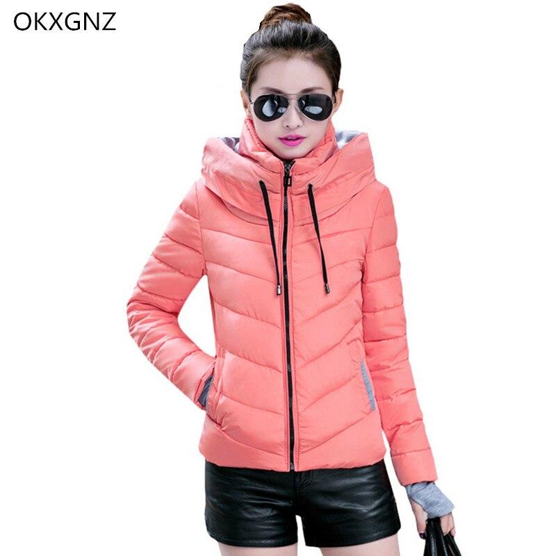 Nová péřová bavlněná krátká bunda dámská zimní tlustá teplá kabát móda s kapucí studenti svrchní oděv plus velikost Slim Parkas OKXGNZ H204
