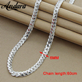 ANDARA Men's 6MM 60cm Full Snake Chain Necklaces Silver 925 Jewelry Fashion Top Quality For Men Silver Link Chain Necklace