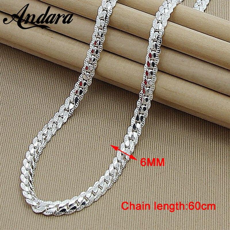 Men 6MM 60cm Snake Chain Necklaces Silver Color Fashion 925 Jewelry Women Male Silver Chain Necklace цена 2017