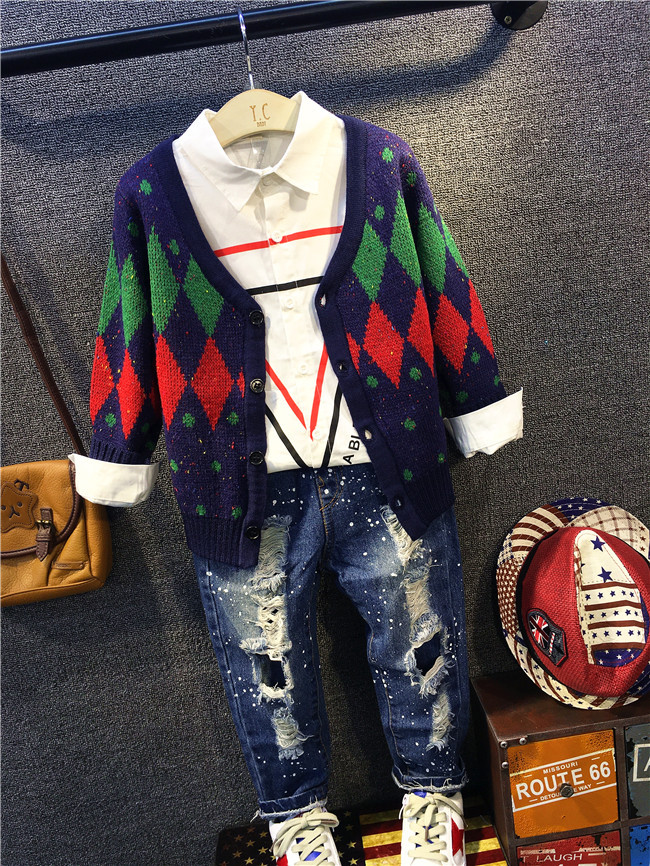 Baby Boy Clothing Set spring and autumn Baby boys Clothing Cotton Cardigan sweater + shirt + jeans 3pcs Baby Boy Clothes set цены онлайн