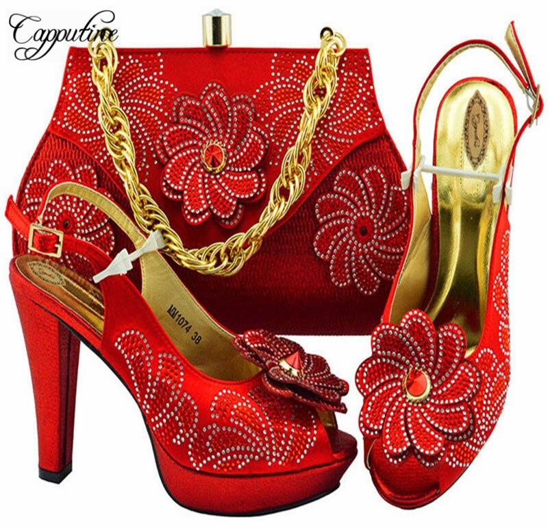 สีพีชแฟชั่น Party รองเท้าและกระเป๋า Match ชุดแอฟริกันรองเท้าส้นสูงรองเท้าและกระเป๋าชุดอิตาเลี่ยนรองเท้าและชุด M1074-ใน รองเท้าส้นสูงสตรี จาก รองเท้า บน   3