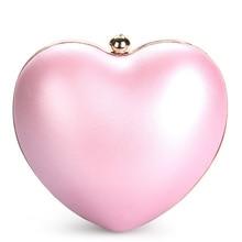2017 Heart Shape Evening Bag Women Peach Heart Diamond Purse bolsas femininas designer handbags high quality mini bags