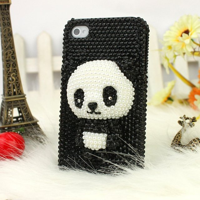 Kingcase New 3D Bling diamond Cute bear Design Hard Plastic case for iphone 4 4S,Free shipping