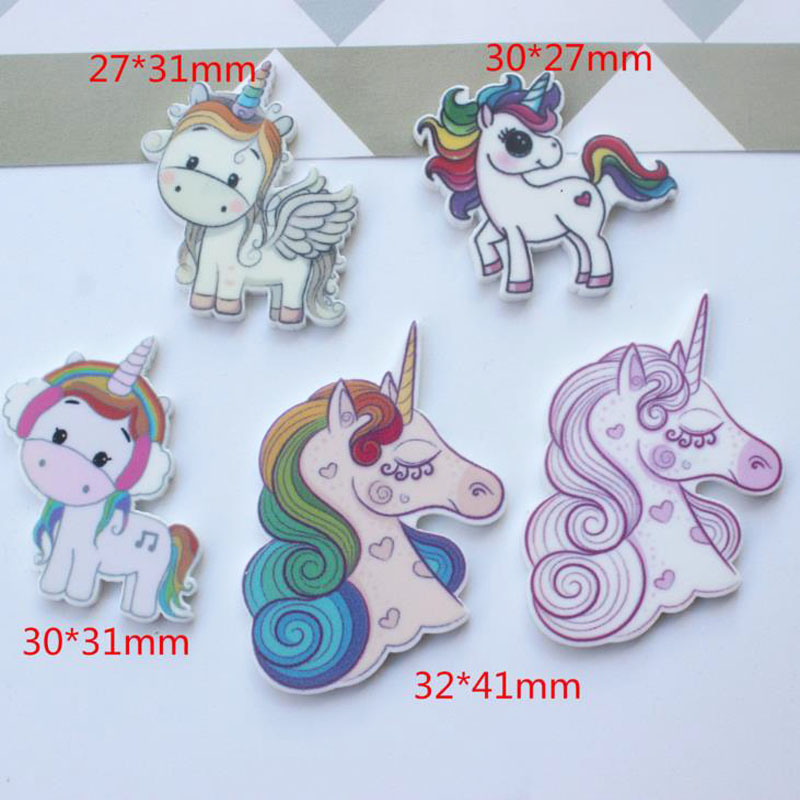 10 Pcs Kawaii Planar Resin Unicorn Head Resin Cabochons Accessories Party Holiday DIY Decorations