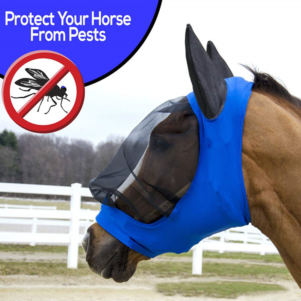 Horse Fly Mask Ear Cover Full Face Armour Mesh Pet Supplies Anti UV Horse Protector Shield Summer Breathable Anti-mosquito Blue(China)